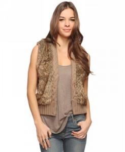 Faux Fur & Cable Knit Vest