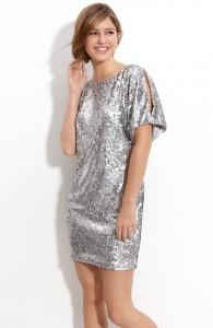 Way-In Sequin Cold Shoulder Shift Dress