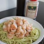 Spaghetti con pesto de cilantro y camarones #LaRomanella