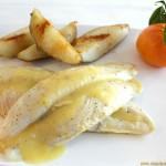 Filetes de pescado con salsa de mandarina