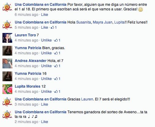 Ganadora Aveeno Facebook