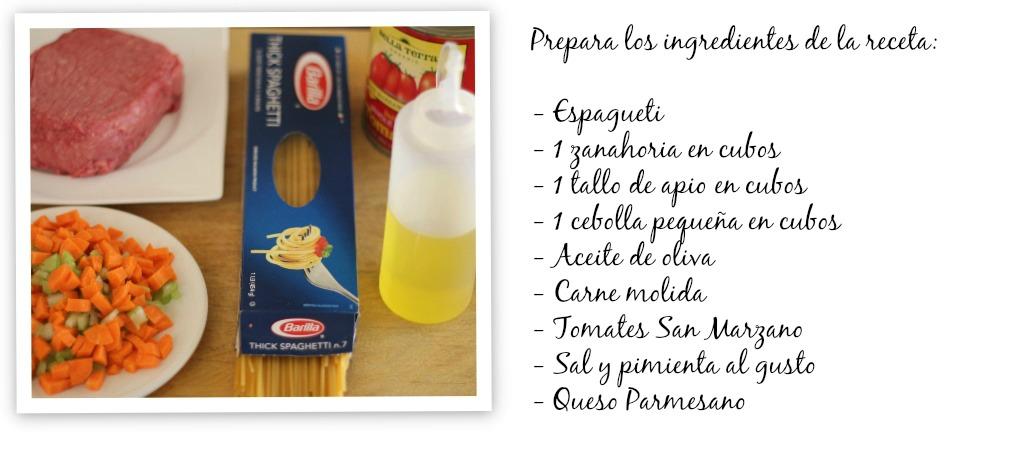 Pasta con salsa bolognesa ingredientes