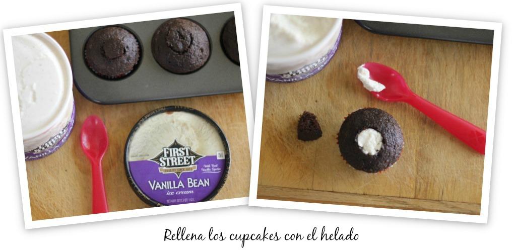 cupcakes rellenos de helado receta