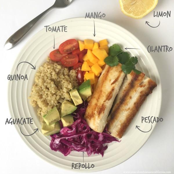 Tazón de quinoa y pescado ingredientes