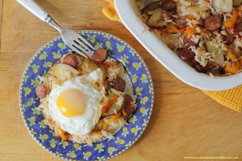 arroz-al-horno-con-salchichas-