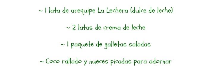 torta fria de galletas y arequipe La Lechera