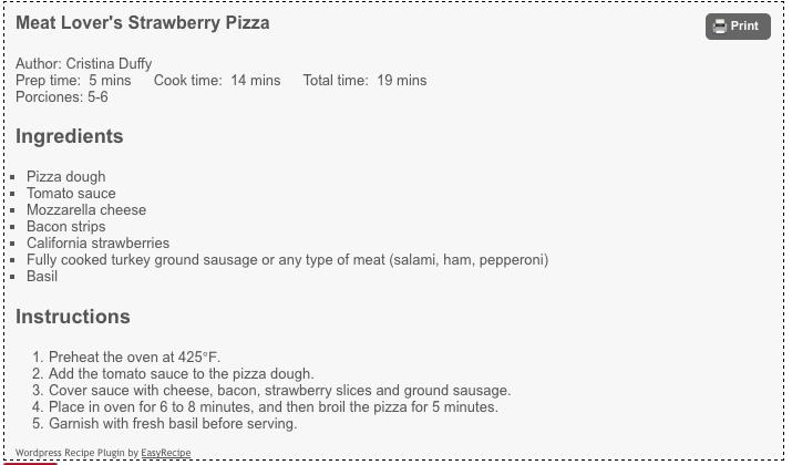 pizza de fresa