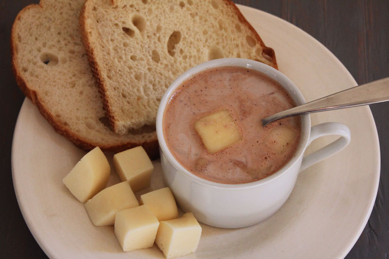 colombian hot chocolate with cheese