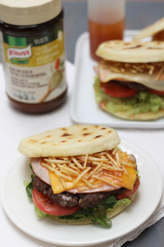 arepa burger receta Knorr Selects hamburguesa de arepa